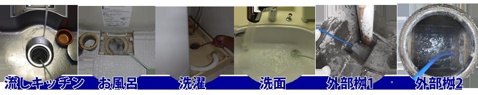 キッチン・浴槽・洗濯排水・洗面所・外部配管